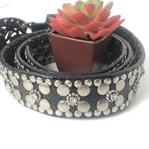 Guess Women Black Silver Studded Pearl Buckle West